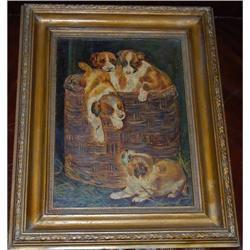 Antique Oil on Board Dog in Basket Painting  #2381541