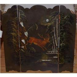 Antique Painted Papier Mache Deer Fire Screen #2381544