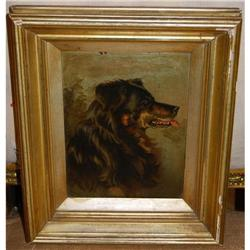 Classical Antique Dog Painting Oil on Board, c.#2381545