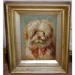 Adorable Antique Dog Painting Oil on Board, c. #2381546