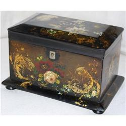 Antique Papier Mache Painted Tea Caddy, c. 1880#2381548