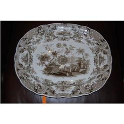 Antique Brown Transferware Large Platter, c. #2381552