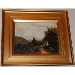 Pair Antique Oil on Canvas Paintings Landscape #2381553