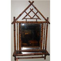 Antique Bamboo Mirror w/ Shelf, c. 1880 #2381555