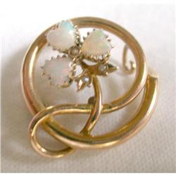 Pretty 3 Opal Hearts Brooch - 10K Gold #2381565