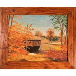 Covered Bridge fall landscape Canada Brooks #2381566