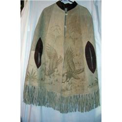 Vintage Mexican Decorated Leather Cape #2381577
