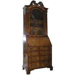 English Georgian Walnut Bureau Bookcase #2381581
