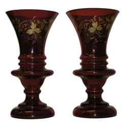 Pair Bohemian Ruby Glass Gilded Vases #2381584