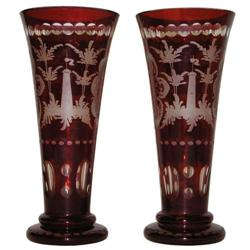 Pair Bohemian Ruby Flashed Etched Vases #2381585