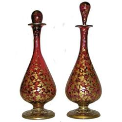 Pair Bohemian Gilded Ruby Glass Decanters #2381586
