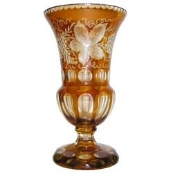 Bohemian Glass Vase w Grapevine Motif #2381591