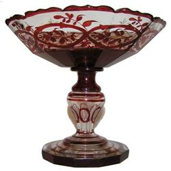 Bohemian Ruby Red Glass Compote #2381594