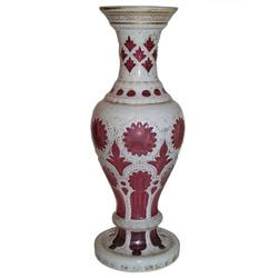 Bohemian Red Cased Glass Gilded Vase #2381595
