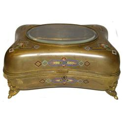 Antique Gilded Champleve Jewelry Box #2381599