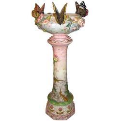 Delphin Massier Majolica Jardiniere & Pedestal #2381606