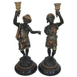 Pair Tall Venetian Blackamoor Table Lamps #2381610