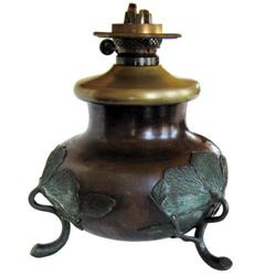Meiji Japanese Brass Kerosene Oil Lamp #2381611