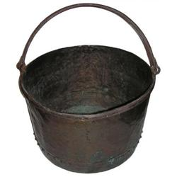 Large Antique English Copper Cauldron Kettle #2381622