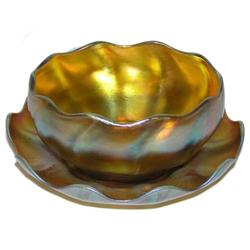 Tiffany Favrile Glass Bowl & Underplate #2381623