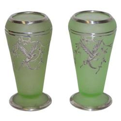 Pair Tiffin Rockwell Silver Overlay Vases #2381624
