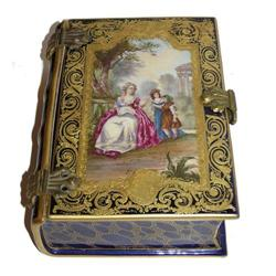 Antique Sevres Style Porcelain Book Form Box #2381630