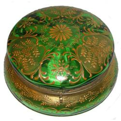 Bohemian Round Green Glass Powder Box #2381638