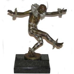 Art Deco TITZE Bronze Harlequin Figurine #2381639