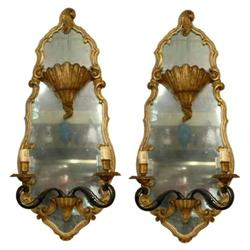 "Pair 39"" Maison Jansen Mirrored Sconces #2381646"