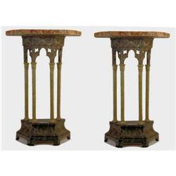 Pair Gothic Revival Faux Marble Consoles #2381647