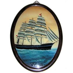Folk Art Clipper Ship Painting on Glass #2381654