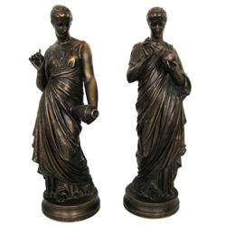 Pair Antique Classical Bronze Figurines #2381661