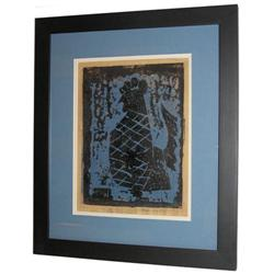MILTON AVERY '53 Blue Rooster Woodcut Print #2381672