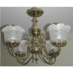 Antique 4-Light Brass & Bronze Chandelier #2381701