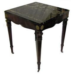 Vintage Marble Mahogany Classical Side Table #2381723