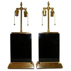 Pair Modern Black Obsidian Table Lamps #2381729