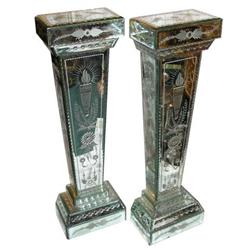 Pair Venetian Mirrored Glass Pedestals #2381730
