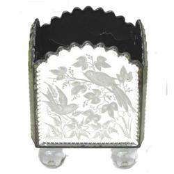 Antique Venetian Etched Glass Planter Cache Pot#2381747