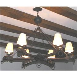 Antique Wooden & Wrought Iron Chandelier #2381749