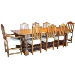 Antique Colonial Revival 8 Chair Oak Dining Set#2381753
