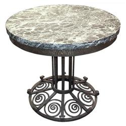 French Art Deco Marble Wrought Iron Table #2381759