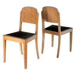 Pair French Art Deco Blond Burl Dining Chairs #2381765