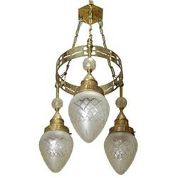 Austrian Art Deco Brass Electric Chandelier #2381774
