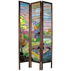 Antique Arts & Crafts Stained Glass Screen #2381793