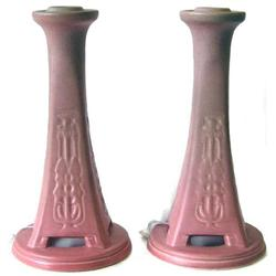Pair '20 Rookwood Red Glaze Candlesticks  #2381801
