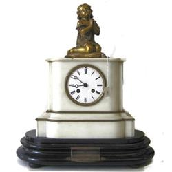 Antique Bronze & Marble Dedication Mantle Clock#2381809