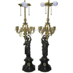 Pair Gilt Bronze Neo-Classical Candelabra Lamps#2381810