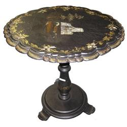 Japanese Papier Mache Lacquered Tilt-Top Table #2381814