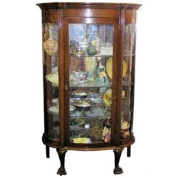 Antique Victorian Oak Vitrine China Cabinet #2381819