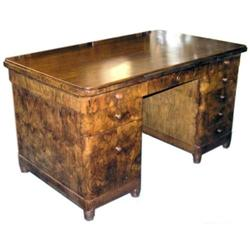 Art Deco Mid-Century Walnut Kneehole Desk #2381820